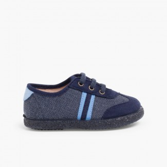 Faux suede herringbone trainers two laces