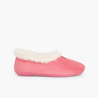 Faux Sheepskin Slippers Pink