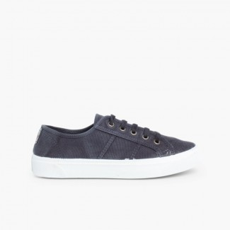 Distressed Lace-up Canvas Trainers Navy Blue