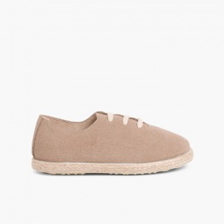 Kids Lace-Up Suede and Jute Trainers Sand