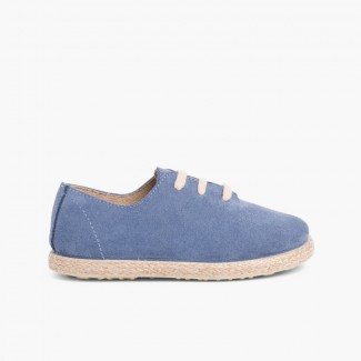 Kids Lace-Up Suede and Jute Trainers Blue Klein