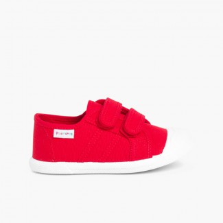 Kids Riptape Canvas Trainers Red
