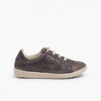 Suede sneakers for kids Grey