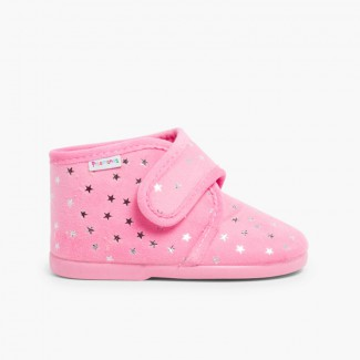 Bootie Slippers with Little Stars  Pink