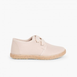 Bluchers With Esparto Grass Soles And Satin Effect  Beige