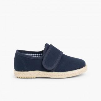 loop fasteners Blucher Shoes Espadrille Sole Navy Blue