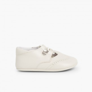 Leather Lace-Up Baby Oxfords  Beige