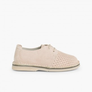 Suede Bluchers With Punch Hole Detail  Beige
