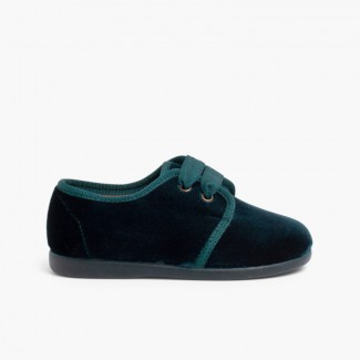 Velvet Lace-up Shoes Green