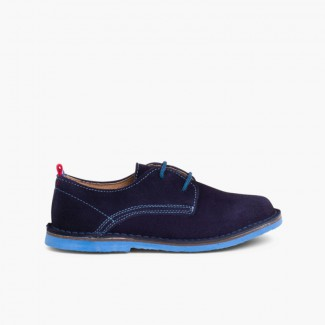 Suede Blucher Shoes with Coloured Outsole and Laces Navy Blue