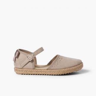 Espadrille with back bow buckle Sand