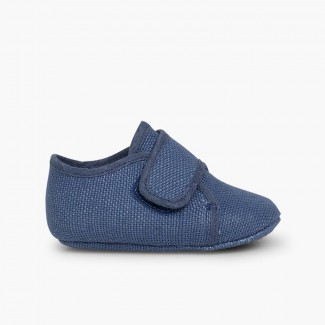 Baby Bluchers with loop fasteners Blue