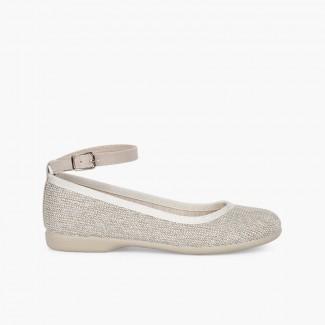 Sparkly Ballet Flats with Ankle Bracelet Beige