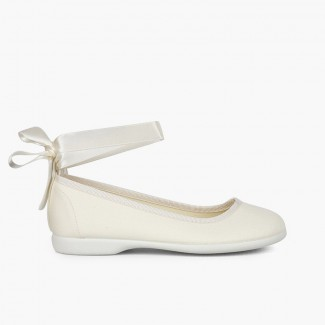 Fabric Ballet Flats with Ankle Bracelet and Satin Ribbons Off-White