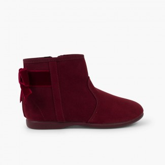Boots with velvet bow and zip closure Burgundy