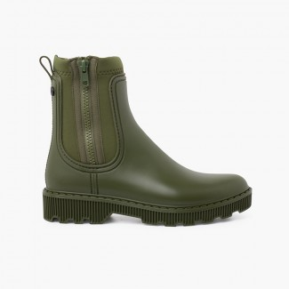 Kids and women ankle boots with side zipper Khaki
