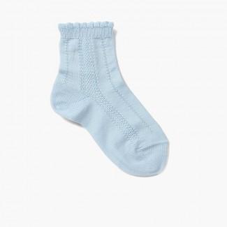 Short Socks with Scalloped Edges Baby Blue