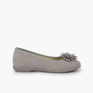 Flower-embellished women and girl´s ballet flats  Pearl Grey
