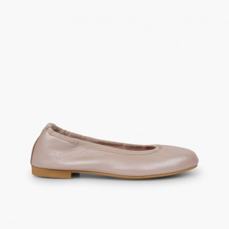 Pearlescent Leather Ballet Flats for Women and Girls Blush pink