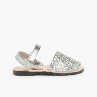 Glitter Menorcan Sandals with Velcro fastening Silver