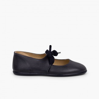 Angel-style Leather Mary Janes Navy Blue