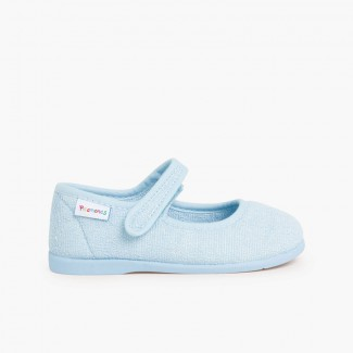 Girls Towelling Bouclé Mary Jane Slippers Sky Blue