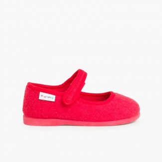 Girls Towelling Bouclé Mary Jane Slippers Red