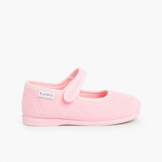Girls Towelling Bouclé Mary Jane Slippers Pink