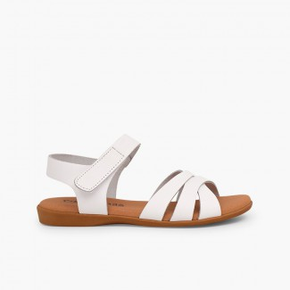 Girls' Leather Sandals with Crossed Straps and loop fasteners Closure White