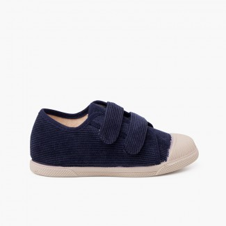 Corduroy trainers with rubber toe and double closure Navy Blue