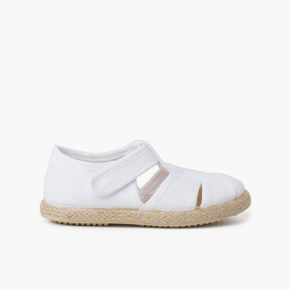 Canvas and Jute T-bar Sandals with Openings White