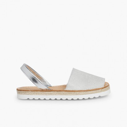 Snake Print Menorcan Sandals for Women and Girls Silver