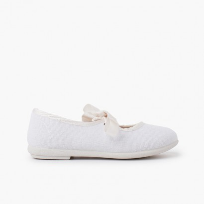 Canvas bow-tie mary janes White