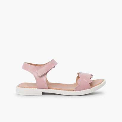 Heart strap leather sandal Pink