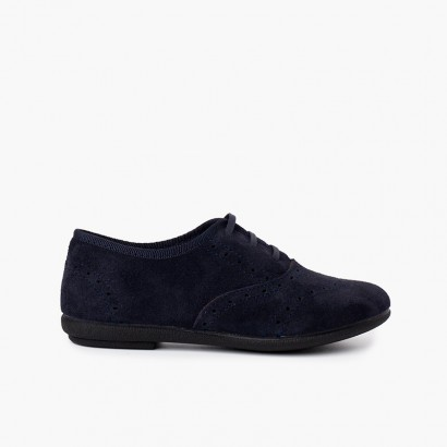 Blucher shoes girl and woman suede Navy Blue