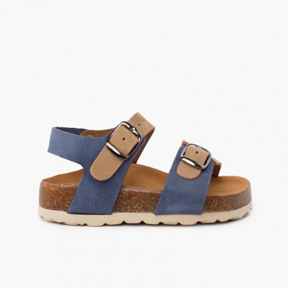Two-tone double buckle kids bio sandals  blue jeans and beige