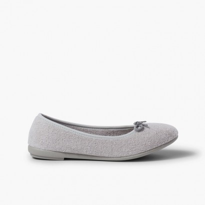 Girls Ballet Pumps Slippers Grey