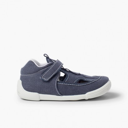 Boys Canvas Sandals with Riptape Navy Blue
