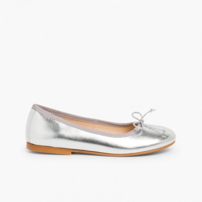 Leather Ballet Pumps Silver
