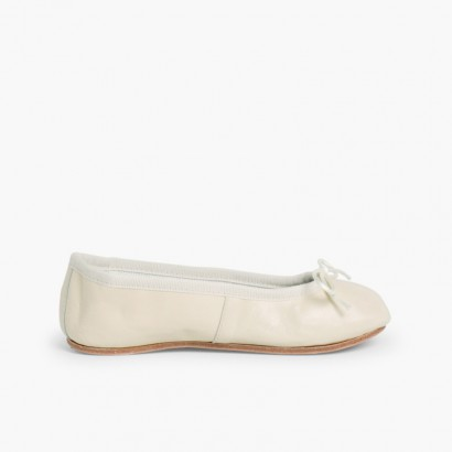 Girls & Womens Leather Ballerinas  Off-White
