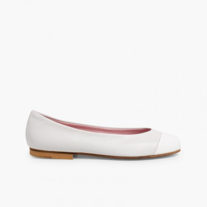 Ballet pumps and flats for girls and ladies in patent leather and Nappa White