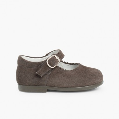 Girls Buckle Up Suede Mary Janes Grey