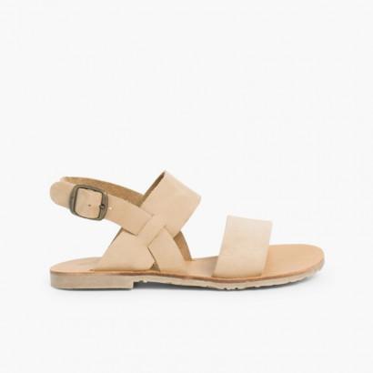 Wide Straps Nubuck Sandals  Beige