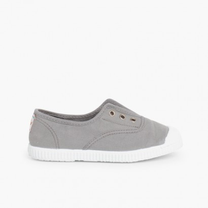 Rubber Toe Cap Canvas Trainers Without Laces Grey
