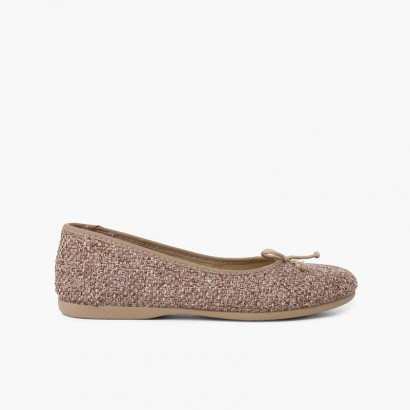 Tweed Girl Ballerinas with Bow Taupe
