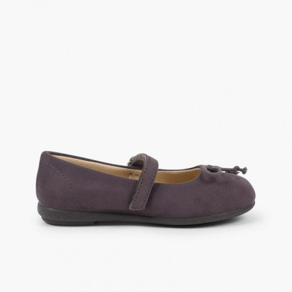 Ballet Flats with loop fasteners and Mary Jane-Style Bow  Grey