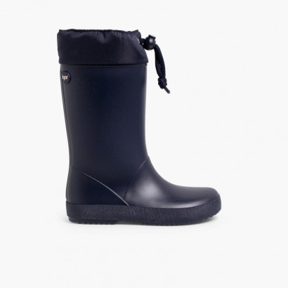 Adjustable high top wellington boots Navy Blue