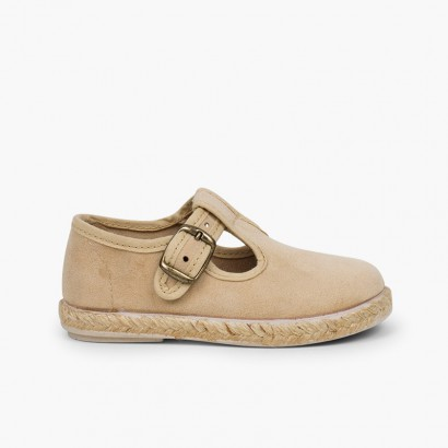 Bamara and Jute T-bar Shoes with Buckle Beige