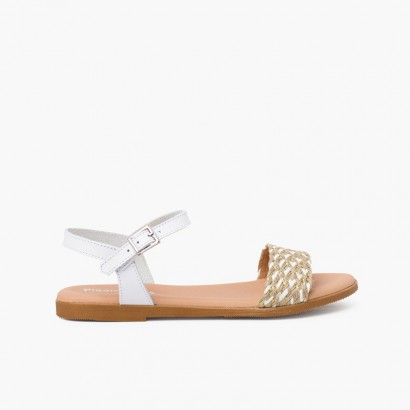 Jute braided strap sandal with buckle closure White