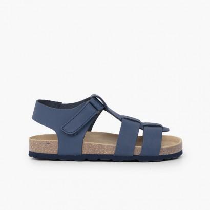 Eco sandals kids nubuck leather Navy Blue